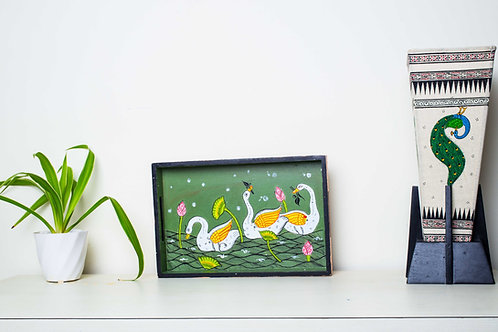 Moss Green Handpainted Swans Multicolor MDF Tray