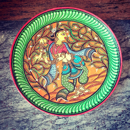 Handpainted Indian Dancer traditional wall plate