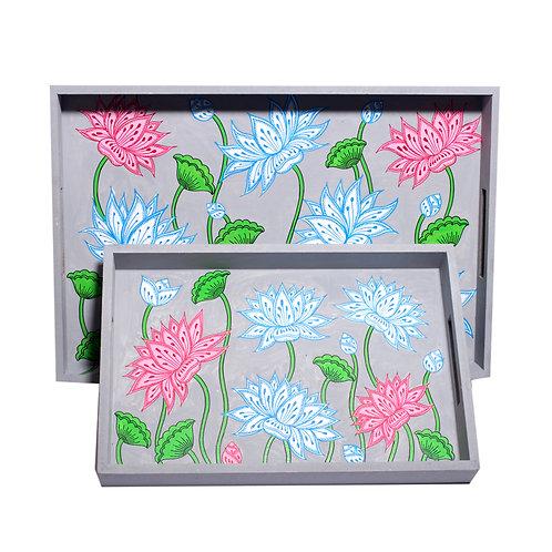 Handpainted English Grey Floral Motifs -Multicolor MDF Trays (Set o