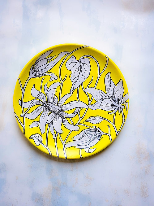 Floral Yellow Handpainted Indian traditional wall plate