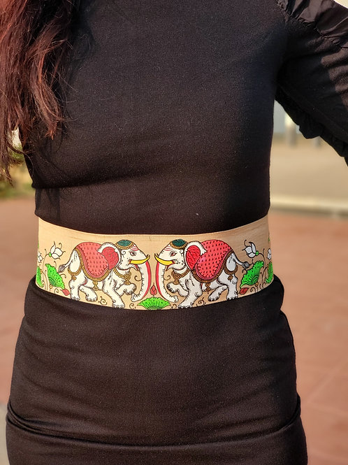 Off white Handpainted Silk Belt with Indian Elephants in corset style