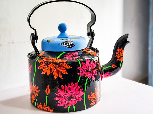 Abstract Lotus Black-Multicolor Hand-painted Aluminum Kettle