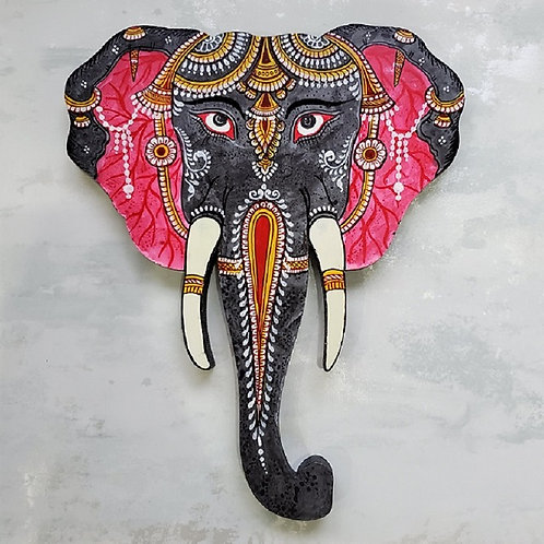Grey and Pink Pattachitra Elephant Head