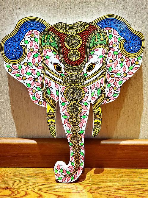 Multicolored Pattachitra Elephant Head