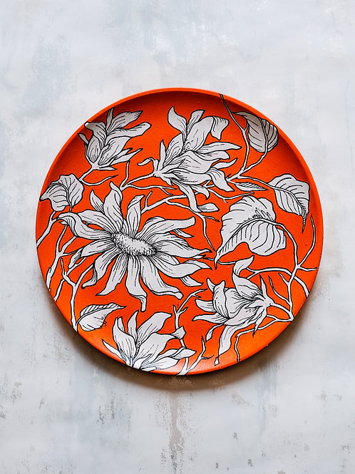Floral Orange Handpainted Indian traditional wall plate