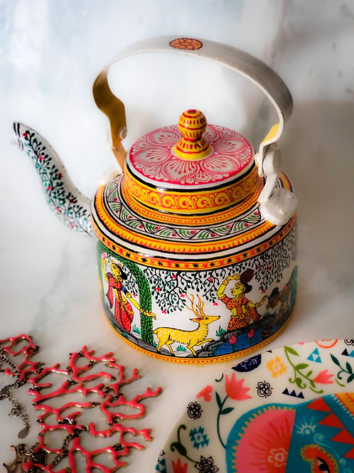 TEAPOT HANDPAINTED WITH VILLAGE SCENE IN PATTACHITRA STYLE