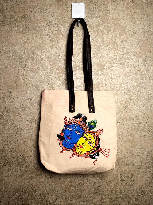 Handpainted Shoulder Mutltipurpose Bag Indian Radha Krishna