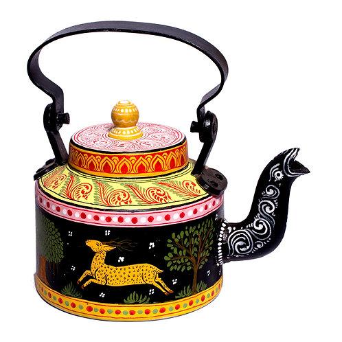 Black handpainted Pattachitra Deer Aluminium Teapot