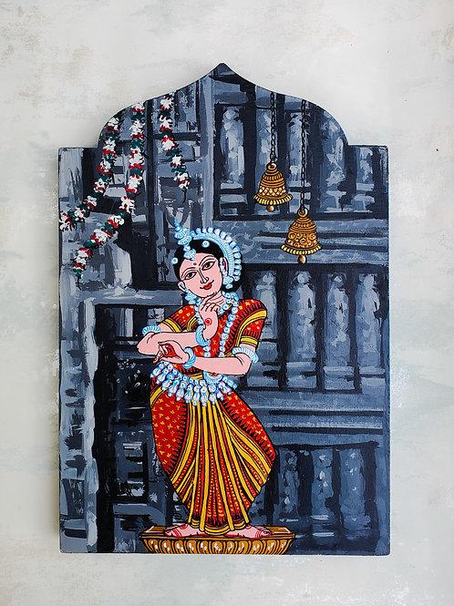 Multicolored Temple Series Grey Oddissi Dancer Wall Art