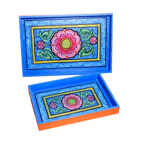 Handpainted Pattachitra Floral Pattern -Multicolor MDF Trays (Set o