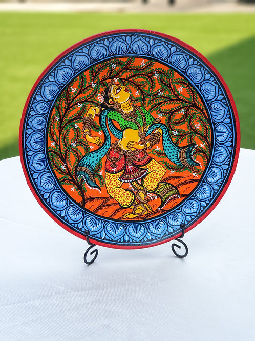 Multicolored Handpainted Indian Dancer traditional wall plate