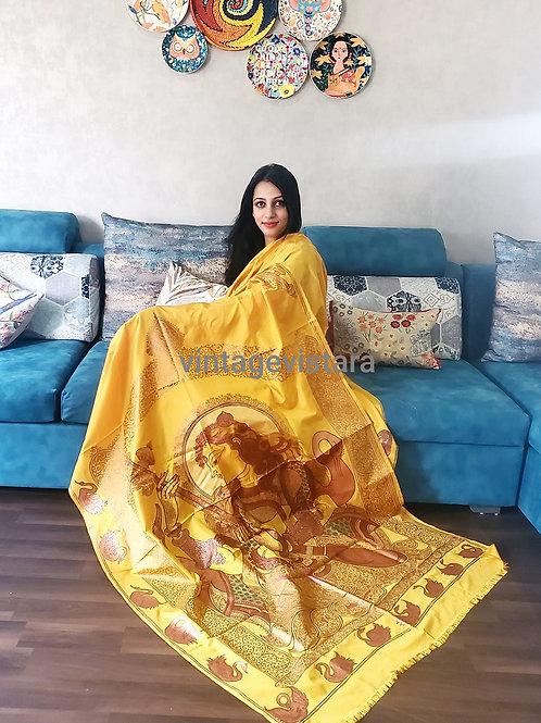 Handpainted Saraswati Pattachitra Saree in Pure Silk Yellow with Bronze painting