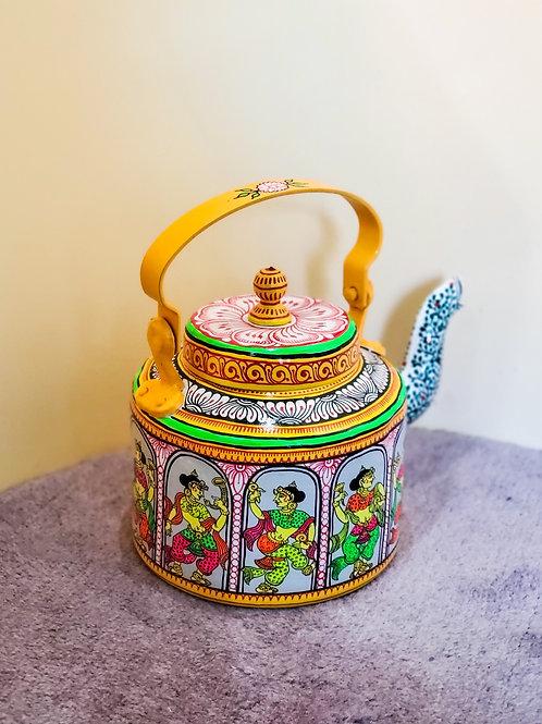 Neon colors handpainted Pattachitra dancer Aluminium Teapot