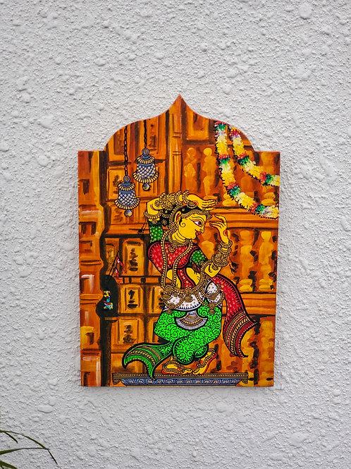 Brown Multicolored Temple Art Dancer Series Wall Decor