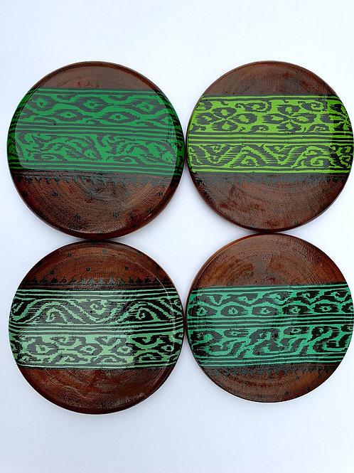 Ikat Handpainted Wooden Coasters