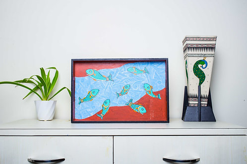 Handpainted Abstract Fish Motifs -Multicolor MDF Tray