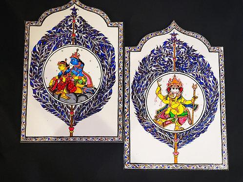 Pattachitra Ganesha, RadhaKrishna on White Wooden wall decor Set