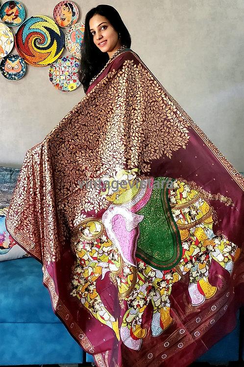 Handpainted Pattachitra Saree:Kandarpa Hasti