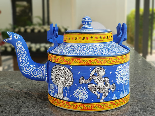Blue and White handpainted Pattachitra Dancer Aluminium Teapot