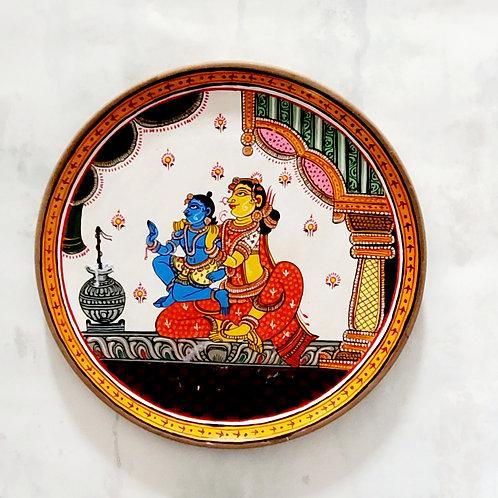Yashoda Krishna Handpainted Indian traditional wall plate