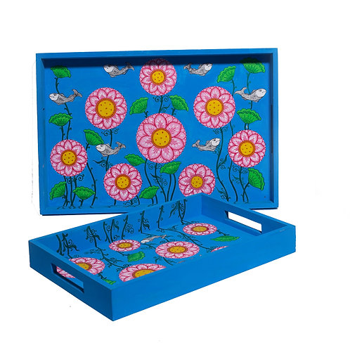 Daffodils Floral Blue-Multicolor MDF Trays (Set of 2)