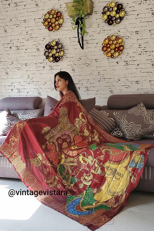 Handpainted Pattachitra Saree: Ganpati on Pallu