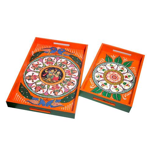Handpainted Dashavataar Pattachitra Orange -Multicolor MDF Trays (Set o