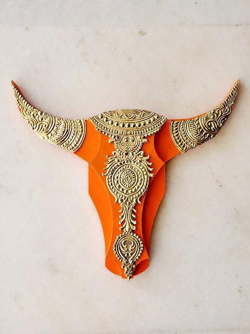 Brass accessorised Gold and Orange Bull Head