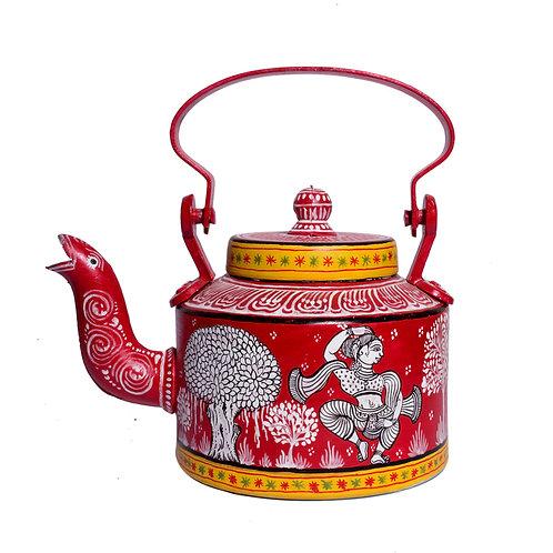 Red and White handpainted Pattachitra Deer Aluminium Teapot