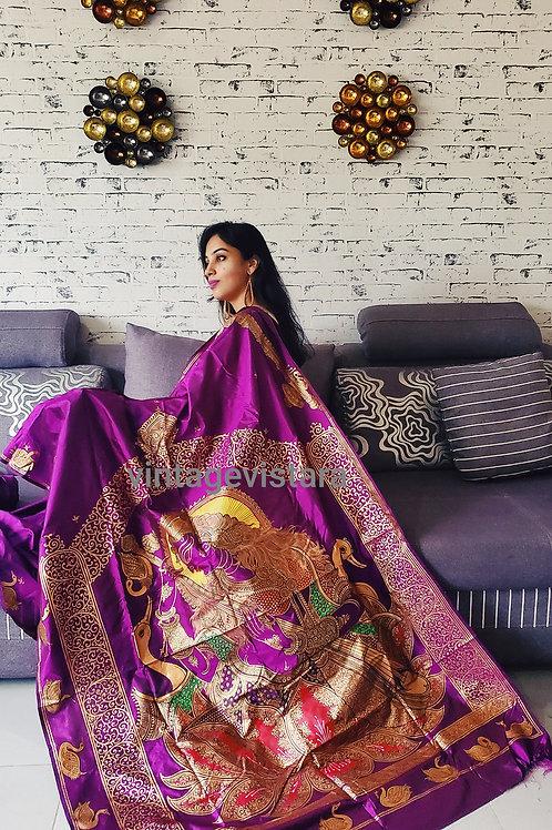 Handpainted Saraswati Pattachitra Saree in Pure Silk