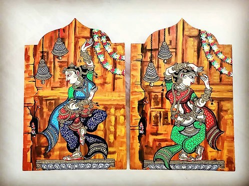 Set of 2 : Multicolored Pattachitra Dancers on  Wooden Wall Accent
