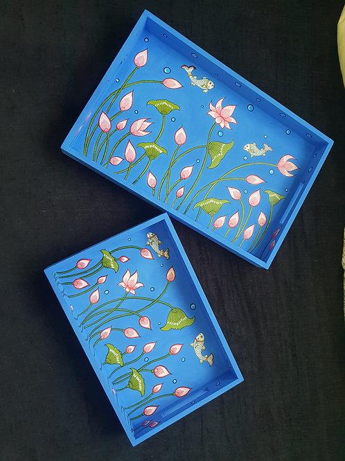 Handpainted Blue Lotus Buds -Multicolor MDF Trays (Set o