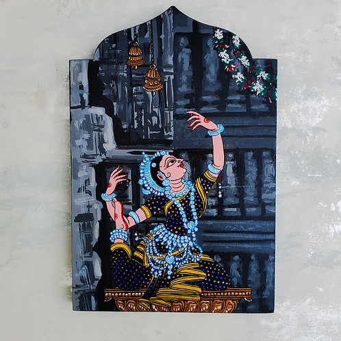 Grey Temple Series Red Odissi Dancer Wooden Wall Art