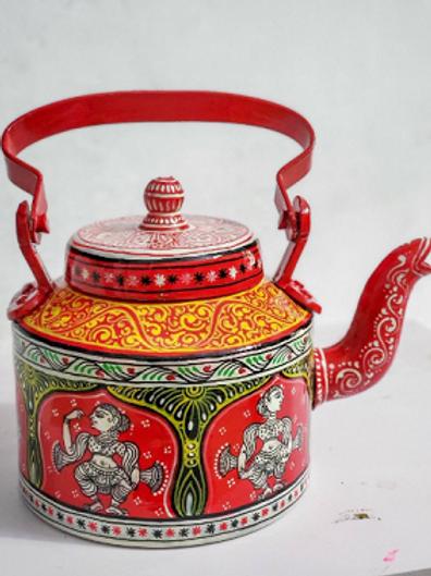 Red and white handpainted Pattachitra dancer Aluminium Teapot