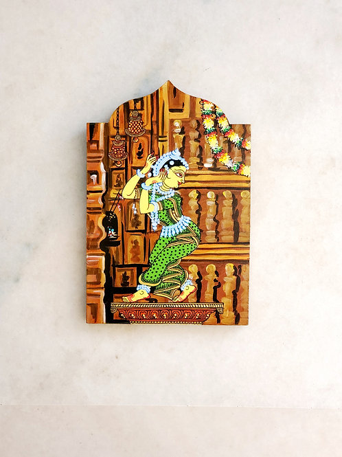 Temple Series Odissi Dancer Ornamentation Wooden Wall Art