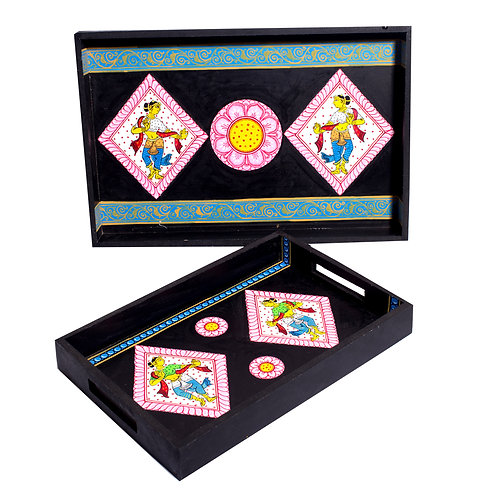 Handpainted Indian Dancer Pattachitra Black -Multicolor MDF Trays (Set of 2)