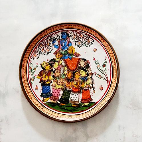 Kandarpa Hasti Handpainted Indian traditional wall plate