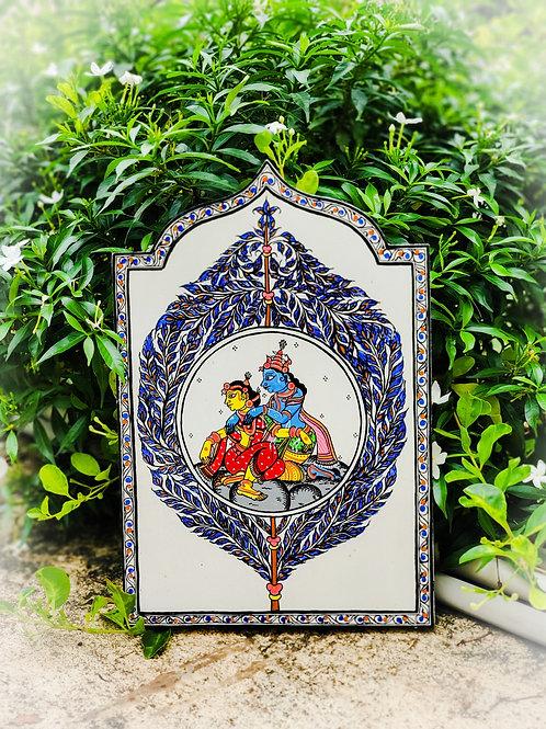 Pattachitra Radha Krishna Wooden Wall Art Decor
