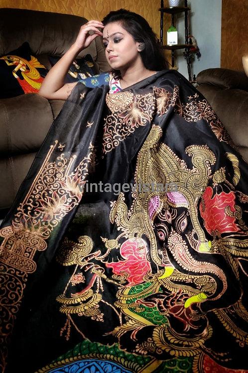 Handpainted Pattachitra Silk Saree In Black: Ganpati on Pallu