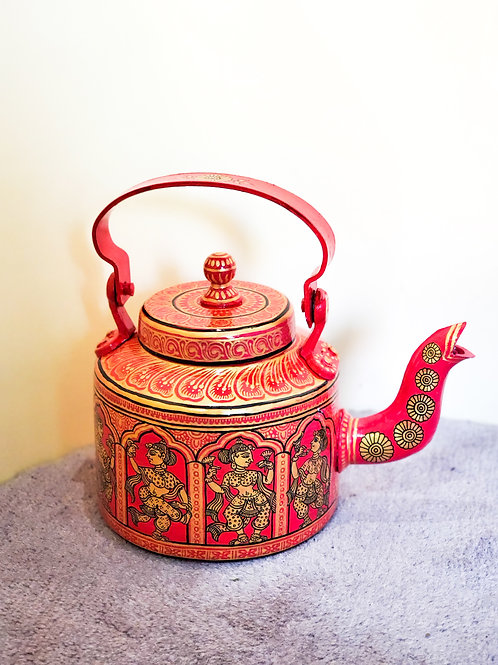 Red Gold Hand-painted Pattachitra women Aluminum Kettle