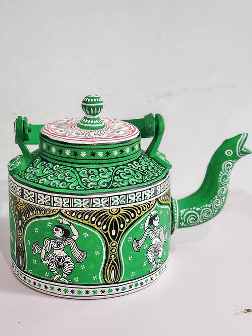 Green handpainted Pattachitra dancer Aluminium Teapot