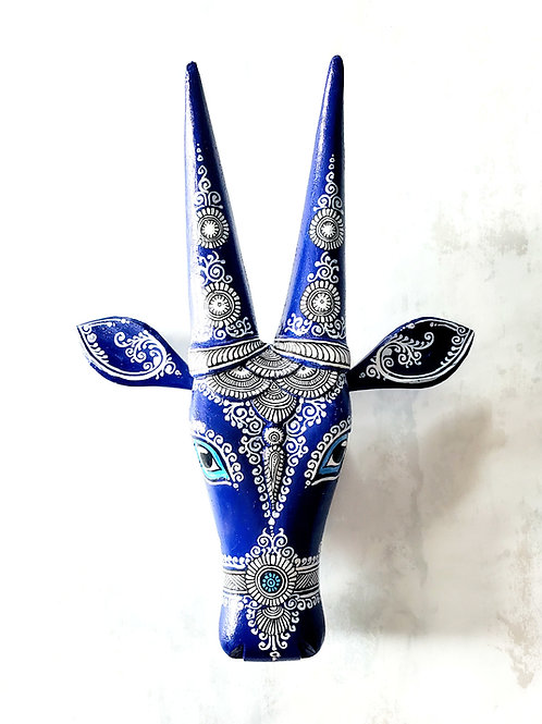 Blue and White Pattachitra handpainted  Wooden Cow Head