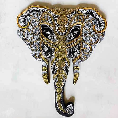 Grey and Gold Pattachitra Elephant Head