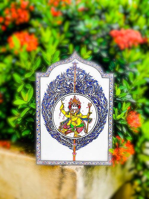 Pattachitra Ganesha on White Wooden wall decor