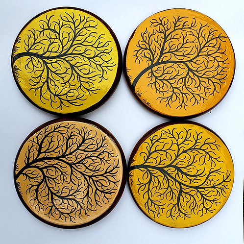 Sunset Trees Handpainted Wooden Coasters
