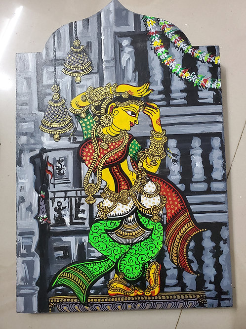 Handpainted English Grey Decor with Indian Dancer and Temple Art
