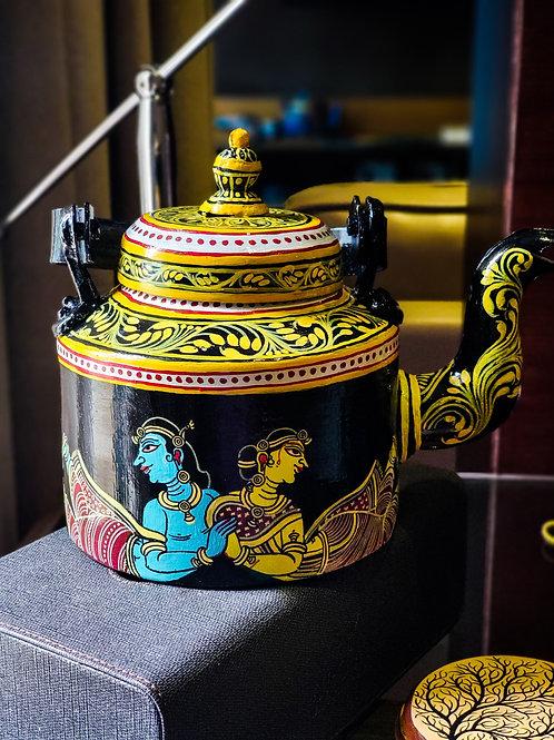 Radha Krishna handpainted in Pattachitra style Aluminium Teapot