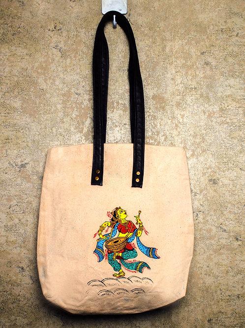 Handpainted Shoulder Mutltipurpose Bag Indian Pattachitra Dancer with Drums