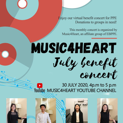 Music4Heart.Org News : July Virtual Benefit Concert will be released 4pm on 07/30/20