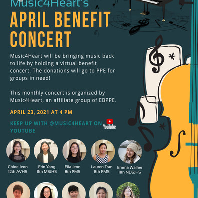 Music4Heart.Org News Update : 2021 April Virtual Concert at 4pm on 04/23/2021 (Friday)